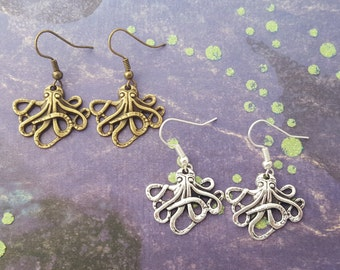 Octopus Earrings, Octopus Jewellery, Kraken Earrings, Nautical Jewellery, Sealife Jewelry, Ocean Jewelry, Pirate Jewellery, Octopus Gift