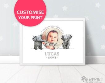 Custom Elephant Baby Name Print - elephant nursery name art baby name sign, baby photo baptism gift, elephant baby art christening gift