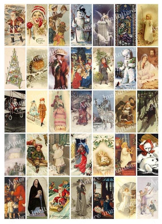 printable vintage christmas digital collage sheet 1x2 inch