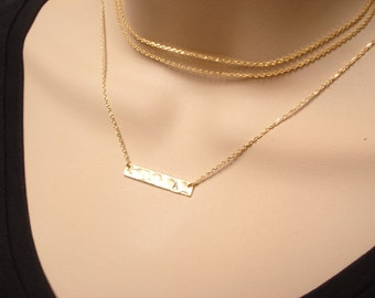 Choice of Gold choker or Initial Bar necklace...Simple delicate, layered necklace, sorority, best friend, wedding, bridesmaid gift