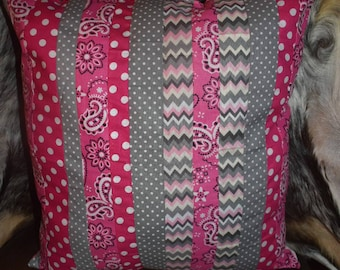 Reversible Decorative patchwork throw pillow pink, grey, polka dot, chevron & plaid! Two sided pillow!
