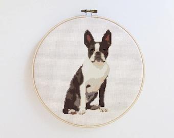 Boston Terrier - Dog cross stitch pattern - PDF - Instant download