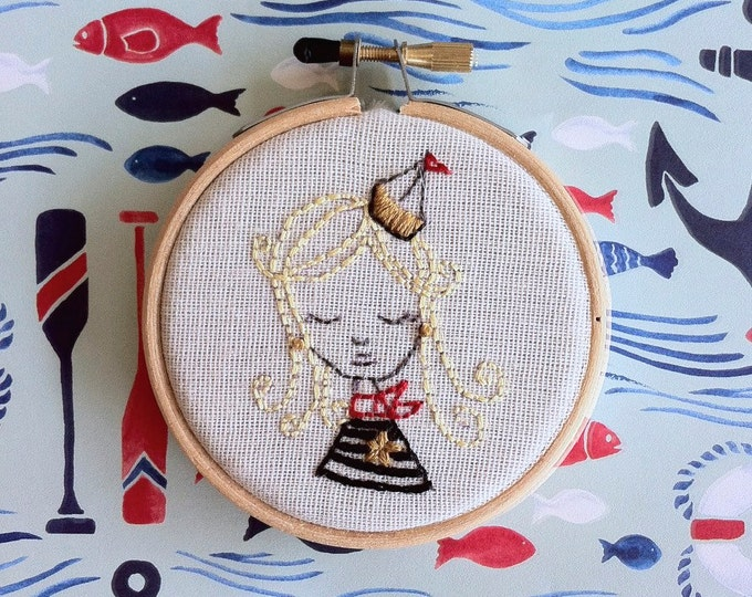 hand embroidery kit | embroidery kit | modern embroidery kit | DIY embroidery | no secrets between sailors sailor girl