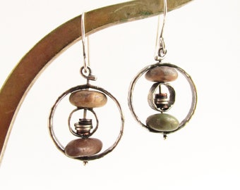 Double Riveted Hammered Hoops - Sterling Silver and Copper Beach Stone Earrings - Metalsmith - Rachel M Post