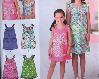 Learn to Sew Little Girls Dress  Sz 3 to 6 Simplicity 2241 uncut pattern