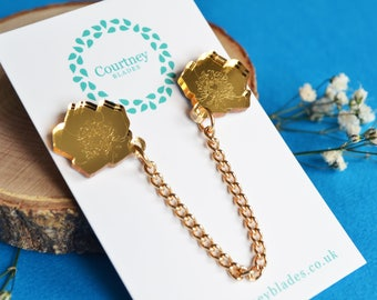 Buttercup Collar Pins, Buttercup Pin, Acrylic Pins, Flower Pin, Collar Pins, Acrylic Jewellery, Buttercup Gift, Laser Cut Jewellery