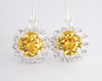 Yellow crystal earrings,yellow wedding,swarovski sunflower yellow,sunflower wedding,yellow wedding,yellow bridesmaid earrings,yellow earring
