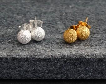 Silver Stud Earrings, Gold Stud Earrings, Ball Earrings, Textured Silver Earrings, Textured Gold Earrings, Contemporary Everyday Earrings