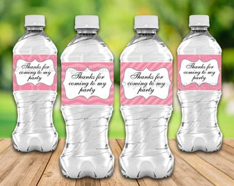 Thanks For Coming To My Party, Baby Shower, Water Bottle Labels, Dark Pink, Party Supplies, 4 Styles, Printable, Instant Download T629A