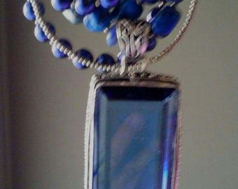 Blue Amethyst Silver Pendant Necklace