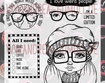 "Clear Stamp Set ""Nerdy Girl"" - perfect to use in your Planners, Happymail, Cardmaking, Artjournaling etc. whimsical Illustration"