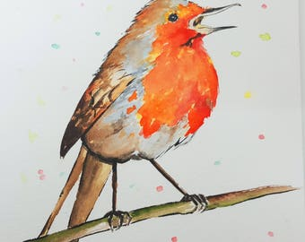 Robin. Robin Bird. Original watercolor