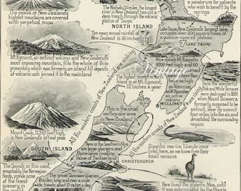 1930s Antique Vintage NEW ZEALAND Features map original b/w map for framing