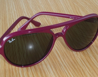 Excell.RAY-BAN RB 4125 Cats 5000 739 Aviator Plum, G-15 Green Lenses Sunglasses