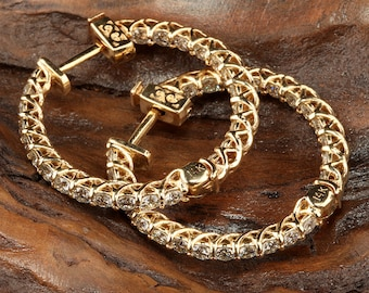 14K Yellow Gold Diamond Hoop  Earrings - DE925Y