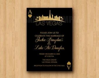 Las Vegas Skyline Hochzeit Gold Schwarz Personalisierte Einladung Digitale  Datei