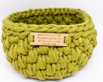 Handmade Crochet T-Shirt Yarn Basket - Earthy Olive Green