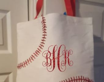Monogrammed Baseball Tote - Moms Baseball Tote - Moms Baseball Bag - Baseball Mom Tote - Sports Tote - My Kids Sports Tote - T-Ball Bag