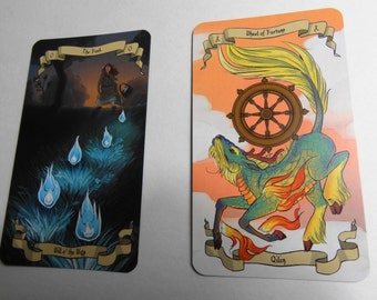 Fantasy Mythical Creature Tarot Card Bookmarks, Qilin and Will 'o the Wisp