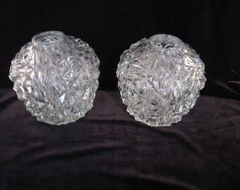 Pair of Beautiful Facetted French Vintage Clear Crystal Globe Lampshade Lamp Shades