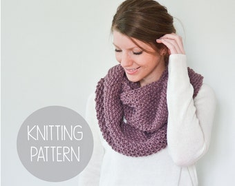 KNITTING PATTERN - easy tiny seed stitch knit scarf - the bloom infinity
