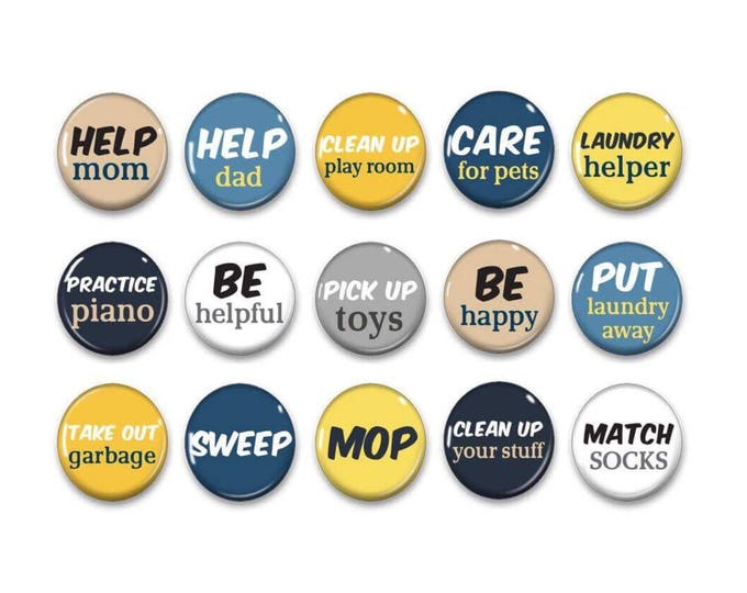 Yellow and Blue Chore Magnets - Chalkboard Chores - Kids Chores - Daily Routine - Chore Chart - Family Organization - Fridge Magnets