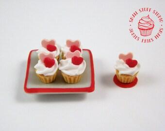 Dollhouse Miniature Valentine Cupcakes
