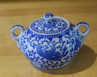 Blue and White Lidded Japanese Sugar Bowl in the Phoenix Bird Pattern Made in Japan of Porcelain Ceramic