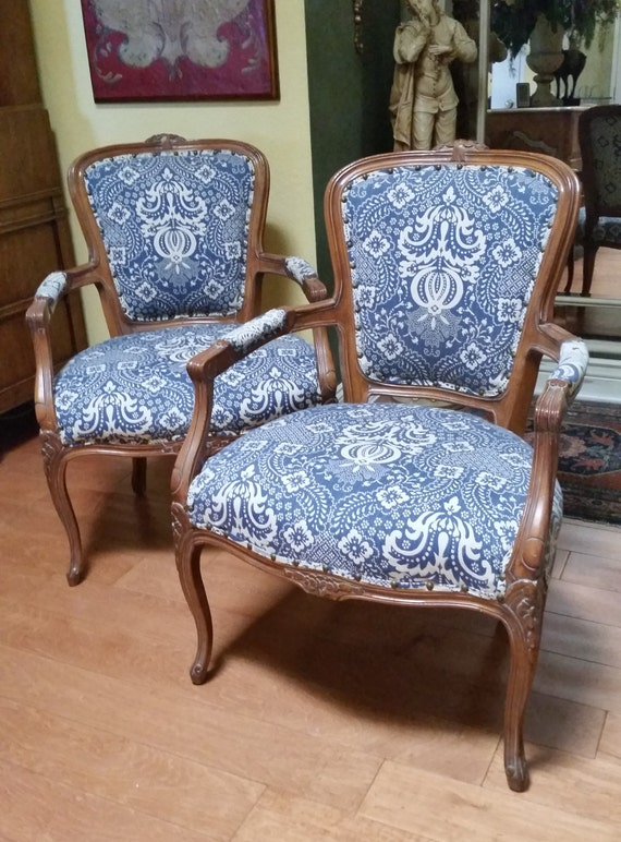 Pair Of French Style Bergere Upholstered Arm Accent Chairs
