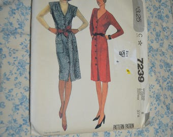 McCalls 7239 Misses Dress or Jumper Sewing Pattern - UNCUT - Size 8