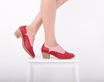 Womens Leather shoes, oxford heels red and pink handmade shoes ADIKILAV , ON SALE