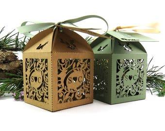 Rustic wedding favor box, Laser cut wedding favour box, Woodland wedding personalised favour, Outdoor wedding table decor, Forest wedding