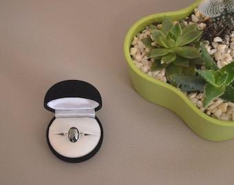 Ring Silver 925 and semi precious stone, hematite cabochon