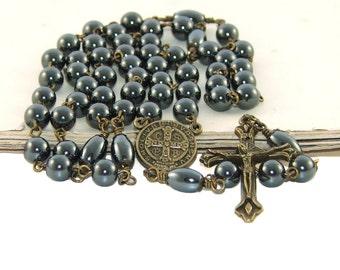 Catholic Man's Rosary, St Benedict Hematite & Brass Rosary