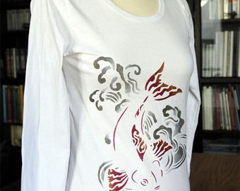 Women White T-shirt Japanese Fish and Waves, Handpainted, Long Sleeves
