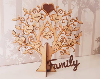 Family tree, mother's day gift, pyrography, tree of life, wooden home decor, gift for mum, housewarming present, familytree, our family