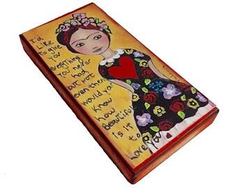 Frida mit roten Herz - Giclee Drucken auf Holz (3 x 6 Zoll) Volkskunst von FLOR LARIOS montiert