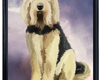 Otterhound Dog Framed Canvas Print Wall Art