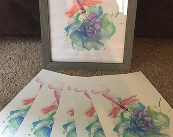 Dragonfly Succulent print
