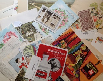 Vintage ephemera Grab Bag / Mystery Packet!   35+ surprise items. Great for collecting, mixed media, collage, pocket pages. Old photos.