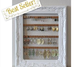 Earring Holder Frame | Hanging Earring Organizer | Custom Earring Holder | Hanging Jewelry Organizer | Creatively Cluttered Earring Display