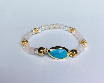 Turquoise Howlite Gold Electroplated Crystal Stretch Bracelet
