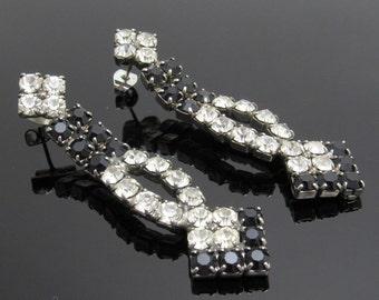 Long Rhinestone Earrings Vintage Jewelry Black Rhinestones