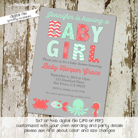 nautical baby shower invitation mint coral gray under the sea twins girl gender neutral reveal sprinkle sip see ocean   1374 Katiedid cards
