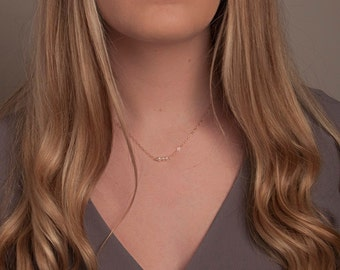 Dainty Pearl Necklace, Freshwater Pearl Bar Necklace, Layering Pearl Necklace, Gold and Pearl Necklace, Silver and Pearl Necklace