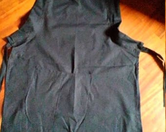 Black cotton apron  with adjustable strap