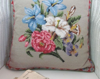 Cottage garden florals~Vintage hand-stitched needlepoint cushion/pillow~Complete with plump new duck feather insert