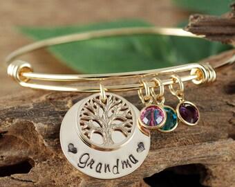 Gold Grandma Family Bracelet, Tree of Life Bracelet, Gold Tree Bracelet, Tree of Life Bangle, Birthstone Bangle Bracelet, GIft for Grandma
