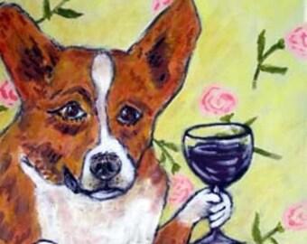 Corgi PRINT, wine art, 11x14 print, corgi art, gift. modern dog art, modern folk art, wine,dog, dog art,dog print
