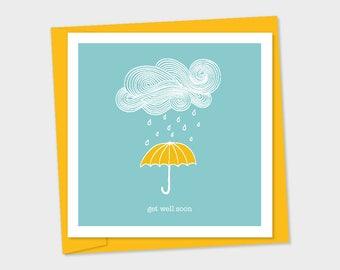get well soon – yellow umbrella